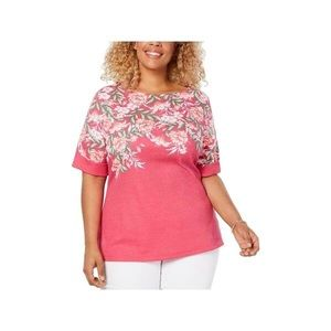 Karen Scott Pink Floral Blouse